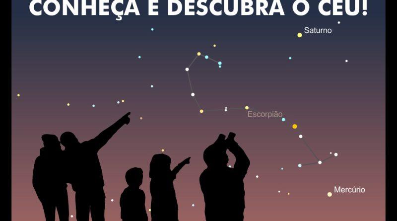 silhueta de várias pessoas observando o céu. Aparece no Slide a inscrição conheça e descubra o Céu. Observação do Céu