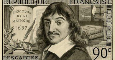Imagem de Descartes como se estivesse em uma nota de dinheiro. A retomada do racionalismo na Idade Moderna e a Influência na (da) Ciência: especialmente a Astronomia.