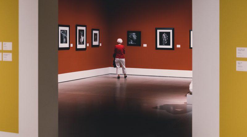 """Uma senhora observando quadros em uma exposição. A Arte e a Estética Contemporânea no Mercado Consumidor de """"Produtos e Serviços"""""""