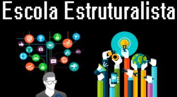 Alguns símbolos, ferramentas, lâmpadas, autofalante, celular entre outros com a frase Escola Estruturalista. O estruturalismo na Filosofia.