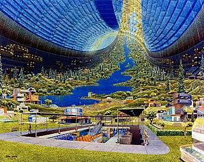 Mostra-se uma ideia de colonização A Nave Espacial chamada Terra (ou Água)