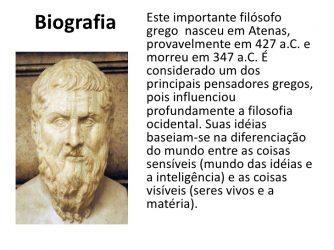 Slide com imagem e resumo da biografia de Platão. Pequena Biografia de Platão.