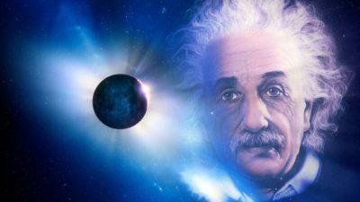 Imagem ilustrativa de Einstein e o Planeta Terra ao fundo