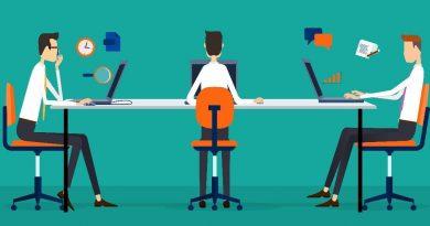 um desenho onde encontram-se 3 pessoas em uma mesa interagindo. A Importância do Relacionamento Empresarial e do Tempo.