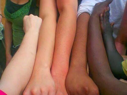 Vários braços humanos lado a lado, praticamente idênticos apenas mudando a cor da pele. Os Brancos eram Negros há milhares de anos atrás