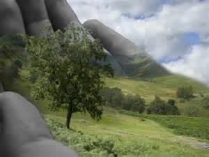 Uma mão gigantesca está por baixo de um gramado com árvores como se estivesse segurando a terra. Considerações Finais do texto: Hegel os Gregos e os Modernos.