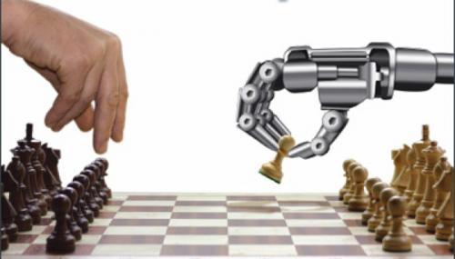 Homem jogando xadrez com uma máquina. A Máquina pode substituir o Homem.