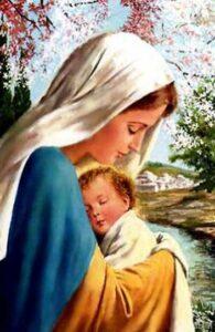 Representação de Nossa Senhora com o Menino Jesus no colo.