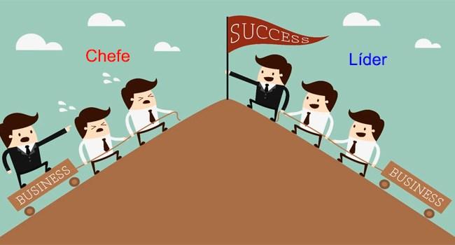 um desenho mostra subindo uma montanha de cada lado um tipo de direção uma com o líder à frente e o outro lado com o chefe atrás do grupo empurrando.