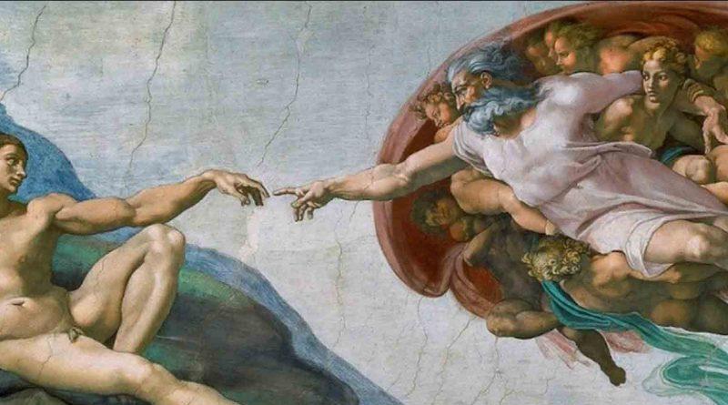 Famosa foto pintura no teto da Capela Sistina a Mão de Deus tocando a Mão do homem. Renascimento uma Visão Geral.