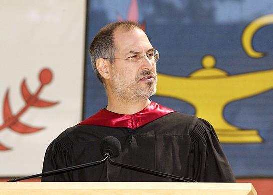 Steve Jobs, o criador da Apple, na Universidade de Stanford