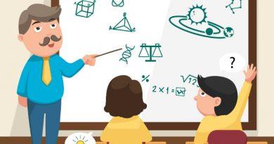 Desenho mostra um professor apontando no quadro negro e um estudante levantando a mão para fazer uma pergunta. O Melhor Aprendizado é através da Prática ou da Teoria.