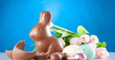 Coelho de chocolate cercado por ovos de páscoa. Feliz Semana Santa! Feliz Páscoa! Mas o que é a Páscoa?