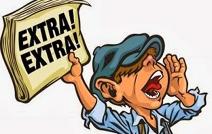 Desenho de um menino com jornal e gritando Extra Extra. Veja alguns Destaques das 200 publicações. Parabéns ao Site: Benito Pepe!