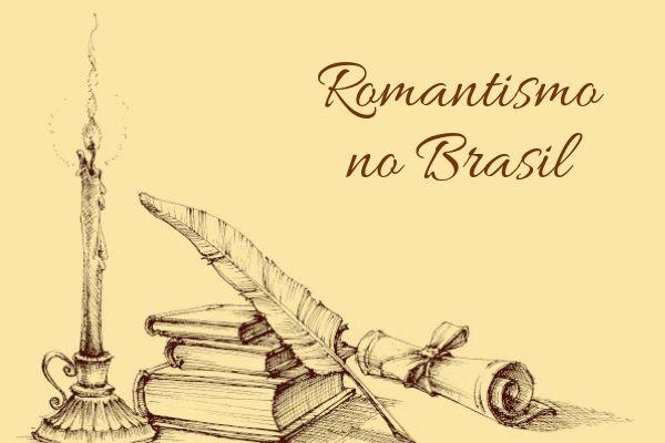 um desenho mostra alguns livros uma caneta em pena, e uma vela acesa mostra que não havia luz naquela época. Será que Ainda existe Romantismo?