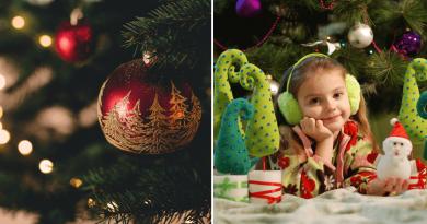um quadro dividido de um lado em foco uma bola de árvore de Natal, do outro lado uma menina foco no seu rosto cercada por enfeites de Natal. Feliz Natal a todas as Mentes. Mas Como cada ser humano vê o Natal.