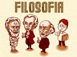 Desenho com figura de filósofos e a palavra Filosofia. A Filosofia