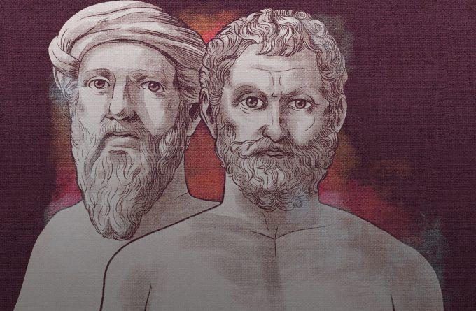 Desenho de dois dos primeiros filósofos pré-socráticos estudiosos da natureza Physis. Do Mito à Filosofia, o caso da Cosmologia