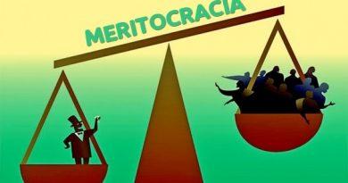 Uma Balança mostra o Peso da Meritocracia. Os Mitos da Meritocracia e da Competitividade.