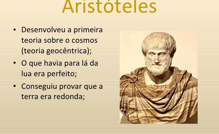 Slide com resumo das teorias de Aristóteles. A Astronomia de Aristóteles.