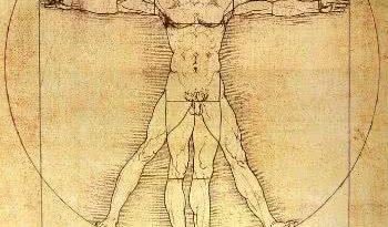 Uma Fotografia do Homem Vitruviano Obra de Leonardo da Vinci. É uma Ilustração que marca o Humanismo do Renascimento. um do símbolos da retomada do racionalismo na Idade Moderna e a Influência na (da) Ciência.