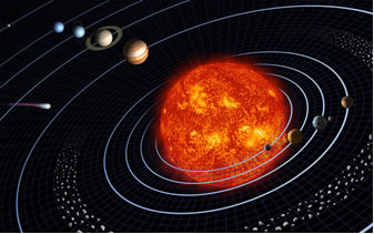 desenho representando o Sol no centro e os planetas ao redor. As influências da Astronomia e a quebra de paradigmas na Modernidade
