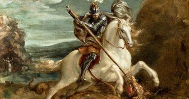 São Jorge no seu Cavalo matando o dragão. São Jorge o Santo Guerreiro na Época do Império Romano.