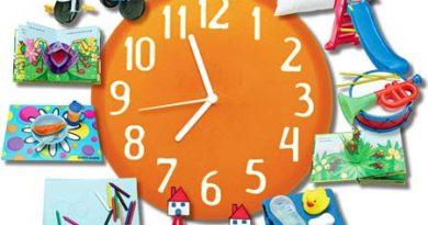Desenho de um grande relógio e envolta de representação de várias atividades. As Rotinas do Dia-a-dia.