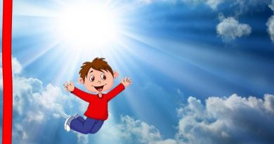 um desenho de um menino no céu azul e lindo com nuvens brancas e um sol por trás... nos faz lembrar que Todos querem ir para o Céu mas ninguém quer morrer.